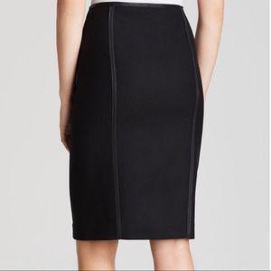 Elie Tahari Wool Pencil Skirt Lamb Leather Trim